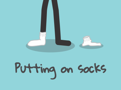 Putting on socks